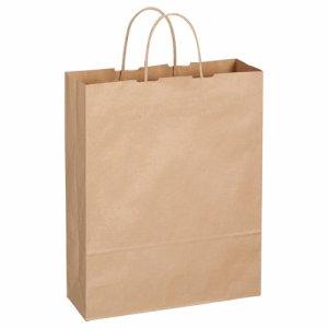 OR-B-L 紙手提袋 丸紐 大 ヨコ320×タテ400×マチ幅115mm 茶無地 300枚セット 汎用品
