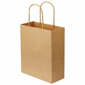OR-B-SS 紙手提袋 丸紐 特小 ヨコ200×タテ245×マチ幅90mm 茶無地 汎用品