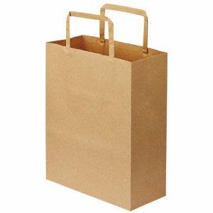 OT-BY-SS 紙手提袋 平紐 特小 ヨコ200×タテ245×マチ幅90mm 茶無地 汎用品