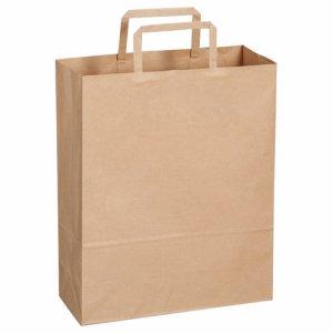 OT-BY-S 紙手提袋 平紐 小 ヨコ260×タテ320×マチ幅100mm 茶無地 汎用品