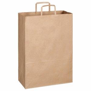OT-BY-LL 紙手提袋 平紐 特大 ヨコ340×タテ480×マチ幅170mm 茶無地 汎用品