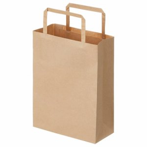 OT-BY-SSS 紙手提袋 平紐 極小 ヨコ180×タテ240×マチ幅80mm 茶無地 300枚セット 汎用品