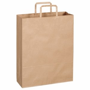 OT-BY-L 紙手提袋 平紐 大 ヨコ320×タテ400×マチ幅115mm 茶無地 300枚セット 汎用品
