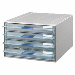 コクヨ LC-UNT104M レターケース(UNIFEEL) 透明引出シタイプ A4タテ 浅型4段 ライトグレー