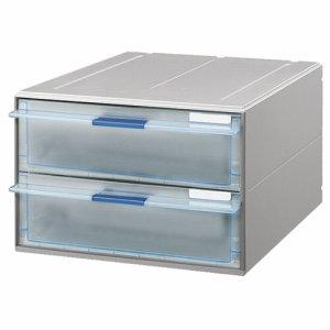 コクヨ LC-UNT202M レターケース(UNIFEEL) 透明引出シタイプ A4タテ 深型2段 ライトグレー