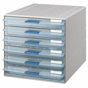 コクヨ LC-UNT106M レターケース(UNIFEEL) 透明引出シタイプ A4タテ 浅型6段 ライトグレー