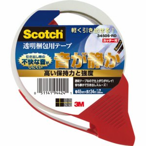 3M 3450S-RD スコッチ 透明梱包用テープ(音が静か /軽く引き出せる) カッター付