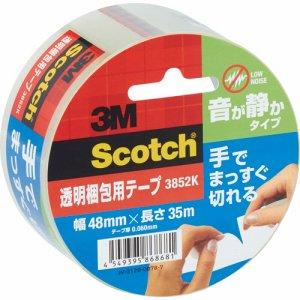 3M 3852K スコッチ 透明梱包用テープ 手でまっすぐ切れる 音が静かタイプ 48mm×35m