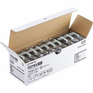 KINGJIM ST6K-10PN テプラ PRO テープカートリッジ 6mm 透明/黒文字 エコパック