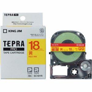 KINGJIM SC18YR テプラ PRO テープカートリッジ パステル 18mm 黄 /赤文字