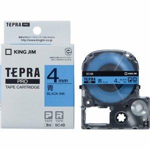 KINGJIM SC4B テプラ PRO テープカートリッジ パステル 4mm 青/黒文字