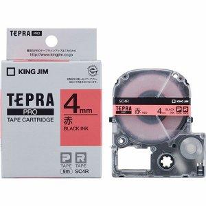 KINGJIM SC4R テプラ PRO テープカートリッジ パステル 4mm 赤/黒文字