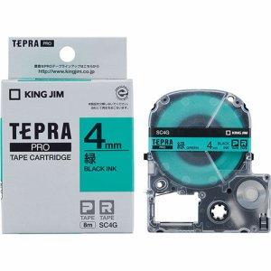 KINGJIM SC4G テプラ PRO テープカートリッジ パステル 4mm 緑/黒文字