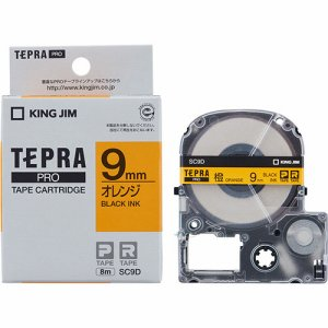 KINGJIM SC9D テプラ PRO テープカートリッジ パステル 9mm オレンジ/黒文字