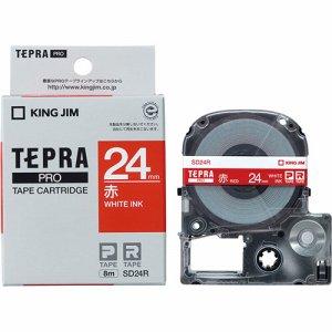 KINGJIM SD24R テプラ PRO テープカートリッジ ビビッド 24mm 赤 /白文字