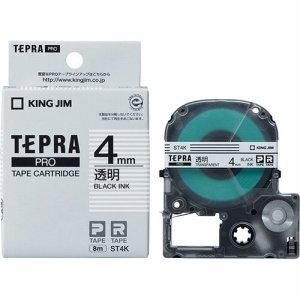 KINGJIM ST4K テプラ PRO テープカートリッジ 4mm 透明/黒文字