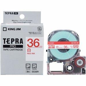KINGJIM SS36R テプラ PRO テープカートリッジ 36mm 白 /赤文字