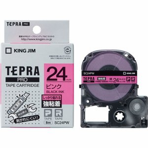 KINGJIM SC24PW テプラ PRO テープカートリッジ 強粘着 24mm ピンク/黒文字