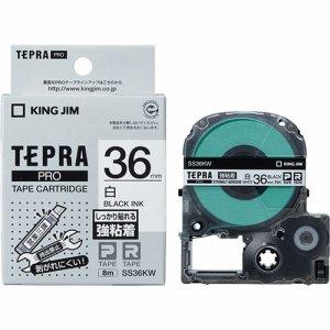 KINGJIM SS36KW テプラ PRO テープカートリッジ 強粘着 36mm 白/黒文字