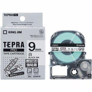 KINGJIM SS9KW-5P テプラ PRO テープカートリッジ 強粘着 9mm 白/黒文字