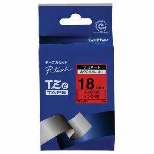 BROTHER TZE-441 ピータッチ TZEテープ ラミネートテープ 18mm 赤 /黒文字