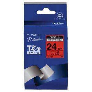 BROTHER TZE-451 ピータッチ TZEテープ ラミネートテープ 24mm 赤 /黒文字