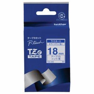 BROTHER TZE-243 ピータッチ TZEテープ ラミネートテープ 18mm 白 /青文字