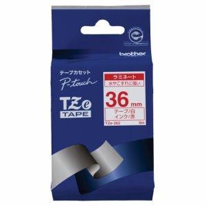BROTHER TZE-262 ピータッチ TZEテープ ラミネートテープ 36mm 白 /赤文字