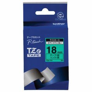 BROTHER TZE-741 ピータッチ TZEテープ ラミネートテープ 18mm 緑 /黒文字