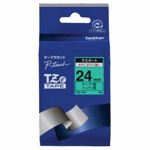 BROTHER TZE-751 ピータッチ TZEテープ ラミネートテープ 24mm 緑 /黒文字