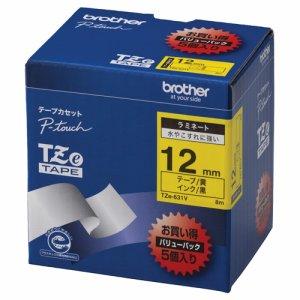 BROTHER TZE-631V ピータッチ TZEテープ ラミネートテープ 12mm 黄 /黒文字 業務用パック