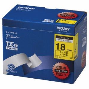 BROTHER TZE-641V ピータッチ TZEテープ ラミネートテープ 18mm 黄 /黒文字 業務用パック