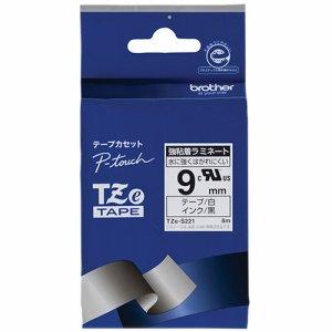 BROTHER TZE-S221 ピータッチ TZEテープ 強粘着ラミネートテープ 9mm 白 /黒文字