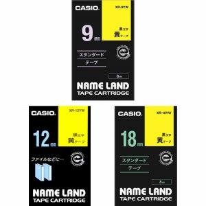 CASIO XR-MIX-GCYW-3P ネームランド 強粘着テープセット 9・12・18mm 黄 /黒文字
