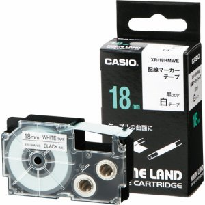CASIO XR-18HMWE NAME LAND 配線マーカーテープ 18mm×5.5M 白 /黒文字