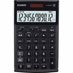 CASIO JS-20WK-MBK-N 本格実務電卓 12桁 ジャストタイプ ブラック