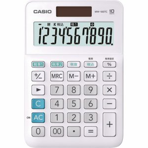 CASIO MW-100TC-WE-N W税率電卓 10桁 ミニジャストタイプ ホワイト