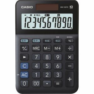 CASIO MW-100TC-BK-N W税率電卓 10桁 ミニジャストタイプ ブラック