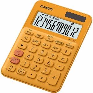 CASIO MW-C20C-RG-N カラフル電卓 ミニジャストタイプ 12桁 オレンジ
