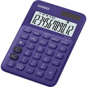 CASIO MW-C20C-PL-N カラフル電卓 ミニジャストタイプ 12桁 パープル