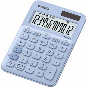 CASIO MW-C20C-LB-N カラフル電卓 ミニジャストタイプ 12桁 ペールブルー