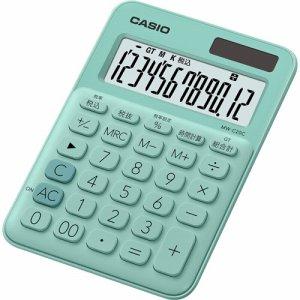 CASIO MW-C20C-GN-N カラフル電卓 ミニジャストタイプ 12桁 ミントグリーン