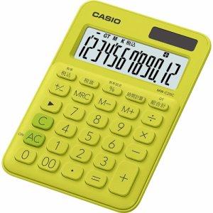 CASIO MW-C20C-YG-N カラフル電卓 ミニジャストタイプ 12桁 ライムグリーン