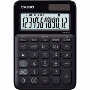 CASIO MW-C20C-BK-N カラフル電卓 ミニジャストタイプ 12桁 ブラック