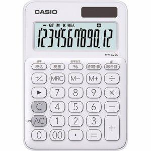 CASIO MW-C20C-WE-N カラフル電卓 ミニジャストタイプ 12桁 ホワイト