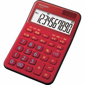 SHARP EL-M335-RX カラー・デザイン電卓 10桁 ミニナイスサイズ レッド