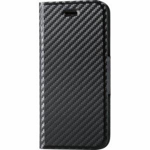 ELECOM PM-A17MPLFUCB IPHONE8 /7用ソフトレザーカバー 薄型 磁石付 カーボン調(ブラック)