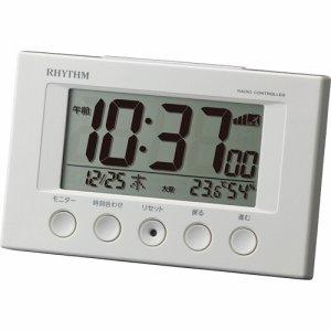 リズム時計 8RZ166SR03 電波デジタル置時計 フィットウェーブスマート ライトグレー