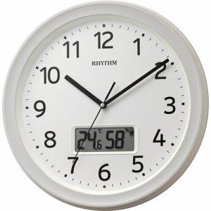 リズム時計 8FYA02SR03 フィットウェーブリブ A02 温湿度カレンダー切替表示機能付電波時計 白