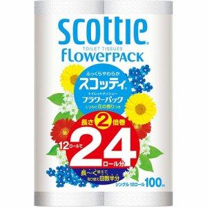日本製紙クレシア 15310 スコッティ 2倍巻き フラワーパック シングル 芯あり 100m